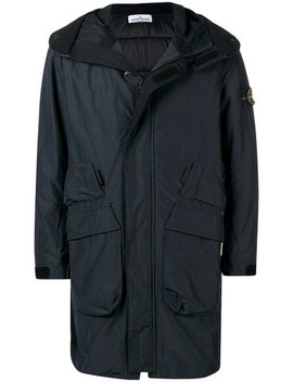 Logo Sleeve Hooded Coat by Stone Island