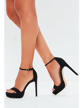 Black Faux Suede Simple Strap Platform Heeled Sandals by Missguided