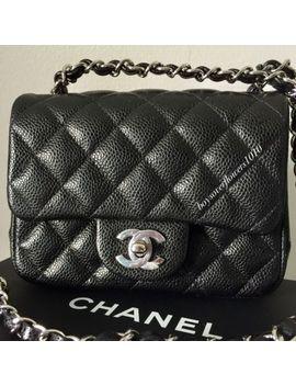 Auth Nib Chanel 18 S Black Caviar Square Mini Classic Flap Bag W/ Silver Hardware by Chanel