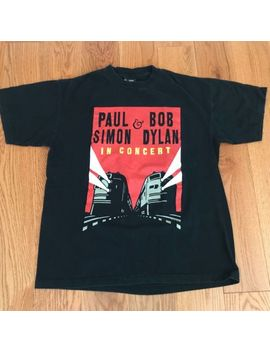 Vintage 1999 Original Giant Paul Simon & Bob Dylan In Concert Official T Shirt L by Giant