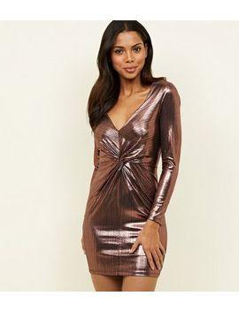 Pink Metallic Twist Front Mini Dress by New Look