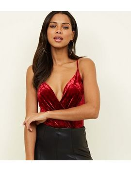 Burgundy Velvet Wrap Front Bodysuit by New Look
