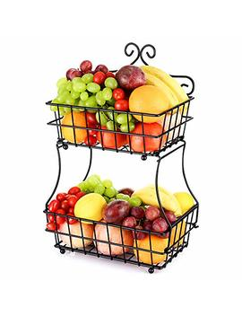 Oakome 2 Tier Fruit Baskets   Metal Bread Basket Stand With Free Screws For Fruit, Vegetables, Snacks, Home Kitchen And Office by Oakome