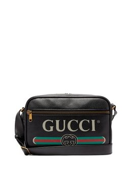 Logo Print Leather Messenger Bag by Gucci