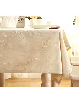 """Tina Cotton Linen Tablecloth Leaf Embroidered Table Cover For Dinner Kitchen Beige, 36""""X36"""" by Tina's"""