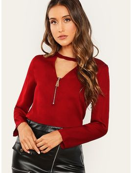 Zip Front V Neck Top by Shein