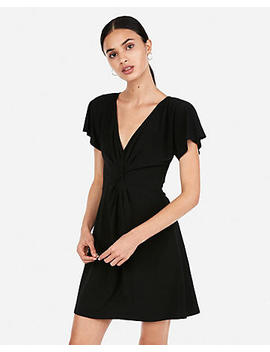Flutter Sleeve Fit And Flare Dress by Express