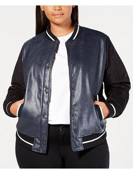 Plus Size Faux Leather Varsity Bomber Jacket by Levi's