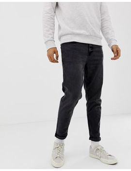 New Look Tapered Jeans In Washed Black by New Look