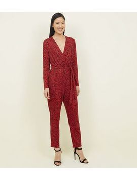 Red Leopard Print Wrap Front Jumpsuit by New Look
