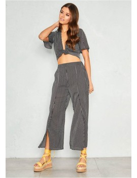Lizzy Black Pinstripe Culotte Trousers by Missy Empire