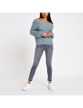 Petite Blue Knit Bardot Neck Jumper by River Island