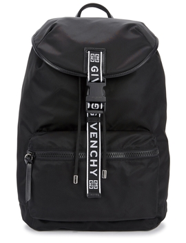 Black Leather Trimmed Nylon Backpack by Givenchy