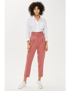 Petite Belted Peg Trousers by Topshop