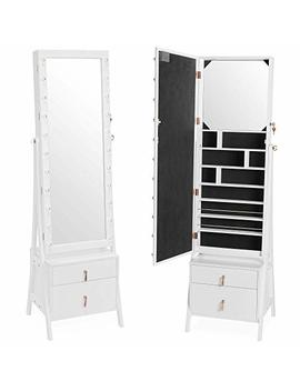Beautify Lockable Floor Standing Make Up And Jewelry Cabinet Organizer Armoire Storage With 2 Drawer, Inside Mirror & Led Lights (White Illuminated) by Beautify