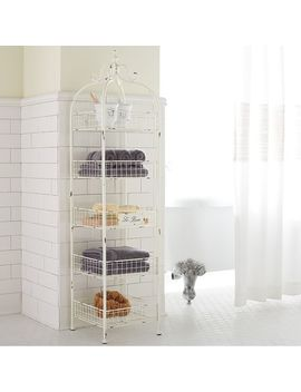 5 Tier Antique White Shelf by Le Bain Collection
