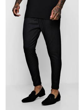 Wide Pinstripe Tailored Jogger by Boohoo