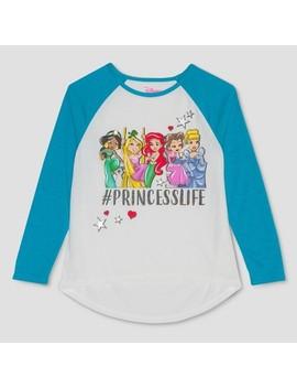 Girls' Disney Princess Long Sleeve Raglan T Shirt   Ivory/Blue by Disney Princess