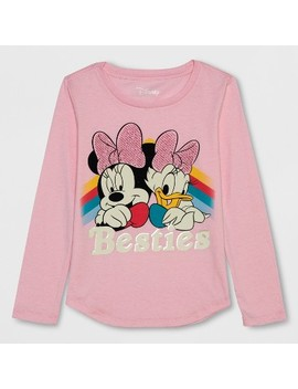 Girls' Disney Minnie Mouse Besties Long Sleeve T Shirt   Light Pink by Minnie Mouse