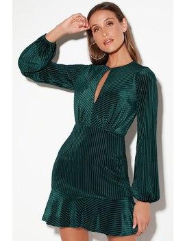Holly Teal Blue Velvet Long Sleeve Dress by Ryse