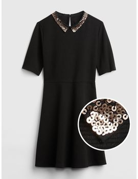 Sequin Collar Fit And Flare Dress by Gap