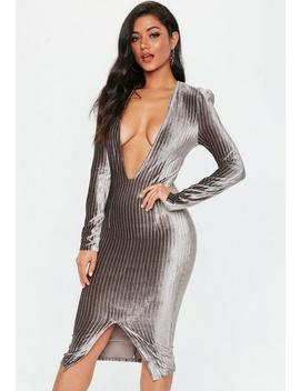 Grey Metallic Stripe Plunge Dress by Missguided