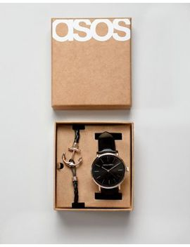 Asos Design Watch And Bracelet Set With Anchor In Rose Gold by Asos Design