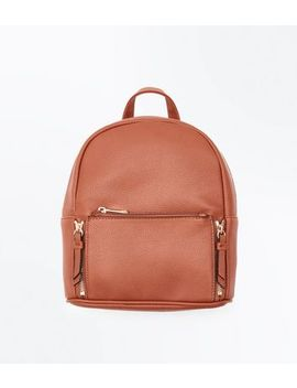 Tan Zip Top Curved Mini Backpack by New Look