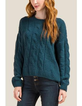 Hayley Chenille Cable Knit Sweater by Francesca's