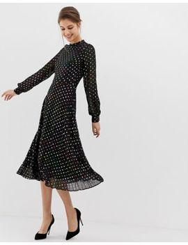 Warehouse Midi Dress With Pleated Skirt In Foil Spot Print by Warehouse