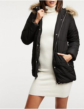 Longline Hooded Puffer Jacket by Charlotte Russe