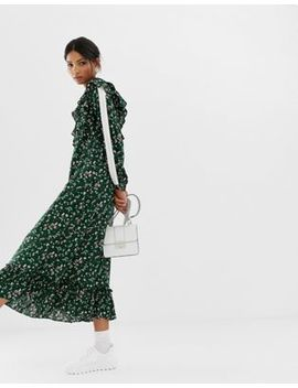 Ghospell Midi Smock Dress With Ruffle Hem In Ditsy Floral by Midi Dress