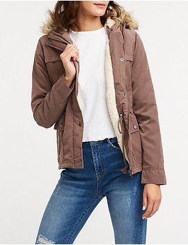 Sherpa Hooded Anorak Jacket by Charlotte Russe