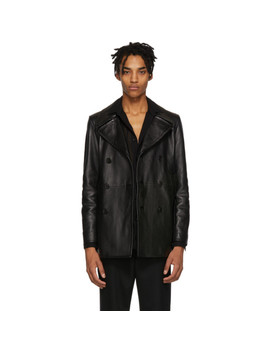 Black Leather Double Breasted Jacket by Saint Laurent