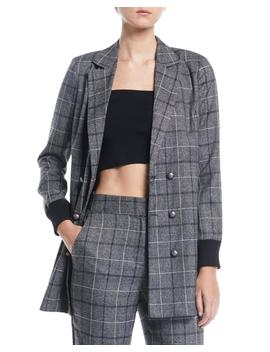 Plaid Ribbed Cuff Double Breasted Blazer by Marled By Olivia Culpo