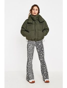 Uo Khaki + Lime Contrast Lined Pillow Puffer Jacket by Urban Outfitters
