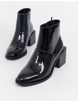Monki Patent Ankle Boots With Square Heels In Black by Monki