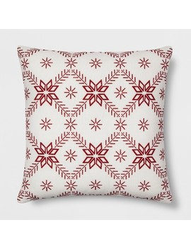 Scandi Snowflake Reverse To Plaid Oversize Square Throw Pillow Cream/Red   Threshold™ by Threshold