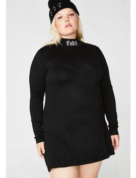 Faded Af Babe Mock Neck Dress by Current Mood