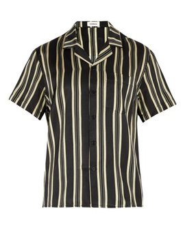 Striped Camp Collar Shirt by Commas