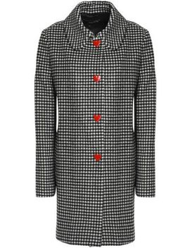 Snap Detailed Gingham Wool Blend Coat by Love Moschino