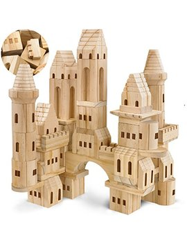 Fao Schwarz {75 Piece Set} Wooden Castle Building Blocks Set Toy Solid Wood Block Playset Kit For Kids, Toddlers, Boys, And Girls, Fantasy Medieval Knights And Princess Theme With Bridges And Arches by Fao Schwarz