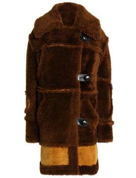 Leather Trimmed Two Tone Shearling Coat by Coach