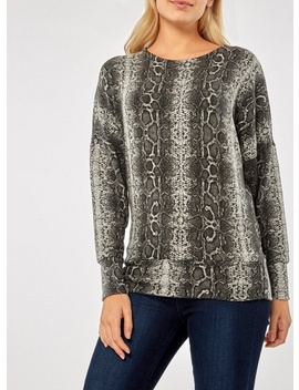 Green Snake Print Brushed Batwing Top by Dorothy Perkins
