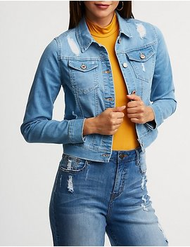 Destroyed Cropped Denim Jacket by Charlotte Russe