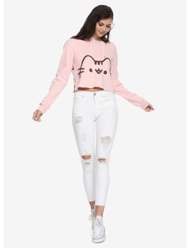Pusheen Pastel Pink Girls Cropped Hoodie by Hot Topic