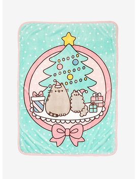 Pusheen Pastel Holiday With Stormy Sherpa Throw Blanket by Hot Topic