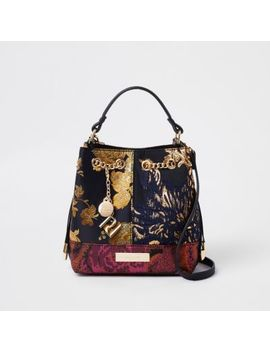 Black Jacquard Contrast Bucket Bag by River Island