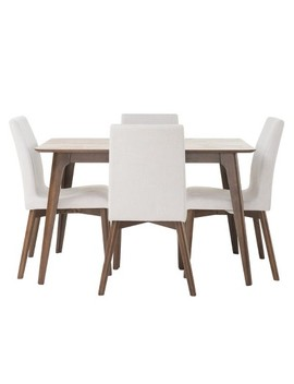 "Orrin 50"" 5   Piece Dining Set   Natural Walnut/Light Beige   Christopher Knight Home by Christopher Knight Home"