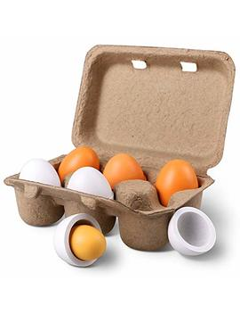 Still Cool Kitchen Toys Children Play Kitchen Game Food Toy For Kids Early Development, Learning, Birthday Gifts (6pcs Wooden Eggs) by Still Cool